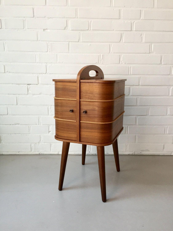 Besonderer Vintage Nähkasten* Tisch* Teak* Mid Century* Sewing Box ...