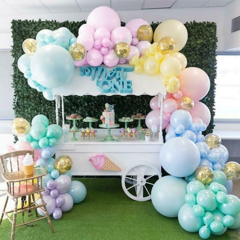DIY Pastel Matte Rainbow Balloon Garland Kit Gold Confetti