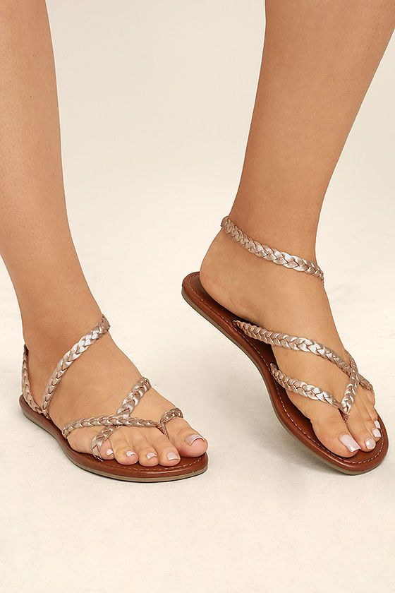 13edd472cd Get luxe all season long in the Mia Braid Rose Gold Leather Thong Sandals!  These sun-ready sandals have a toe thong upper, and braided genuine leather  ...