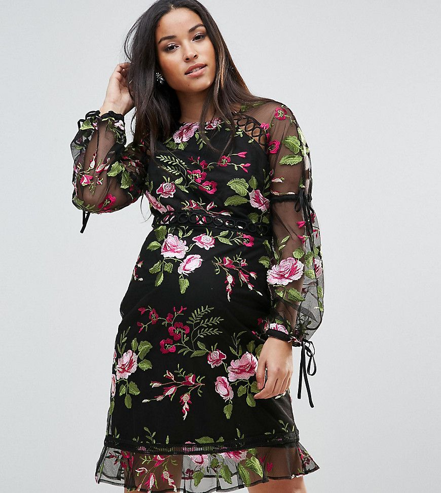 888166284e11 ASOS Maternity Rose Embroidered Shift Dress - Black
