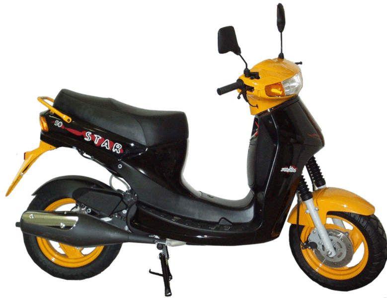 Simson Star 50 Technische Angaben: Motor: Zweitakt-Otto-Motor, mit Katalysator Hubraum: 49,9 ccm Max.Leistung: 3,7kW - 6500 U/min, 1,53kW- 4500U/min Getriebe/Antrieb: stufenlose Automatik, Elektro- und Kickstarter Bremsen: vorn Trommelbremse, Star50 Option: Scheibenbremse, hinten Trommelbremse Leergewicht: 96 kg zul. Gesamtgewicht: 270 kg/ 220 kg Tankinhalt/Reserve: 10,5Liter/2,0Liter Sitzhöhe: 770mm Farben: tornadorot, ozeanblau, schwarz VK-Preis: 2110 Euro (50S), 1992 Euro (25)