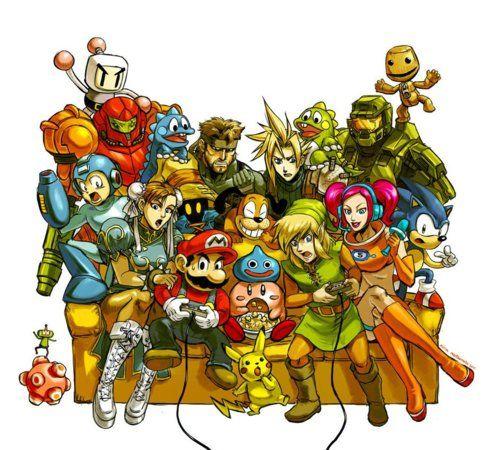 All the video games history on one sofa. Metroid, Zelda, Link, Chun-Li, Cloud, Solid Snake, Mario, Bomberman, Sonic, Halo and co