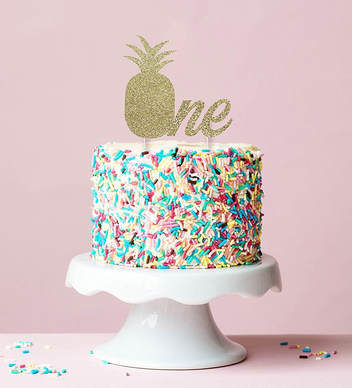 Amazon Pineapple Birthday Cake Topper In Gold Glitter 1st Party Luau Hawaii Themed Smash Everything Else