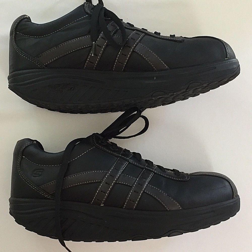 Skechers Shape Ups Black Leather Lace