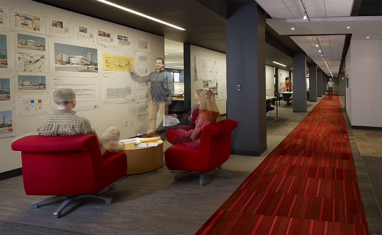 Harley color carpet tiles - Harley Ellis Devereaux Office Renovation In Detroit Mi