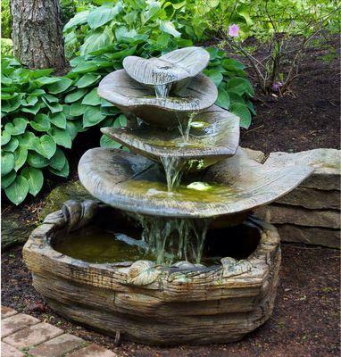 Henri Studio Cast Stone Giant Leaf Water Fountain Fountains Outdoor Garden Water Fountains Fountains Backyard
