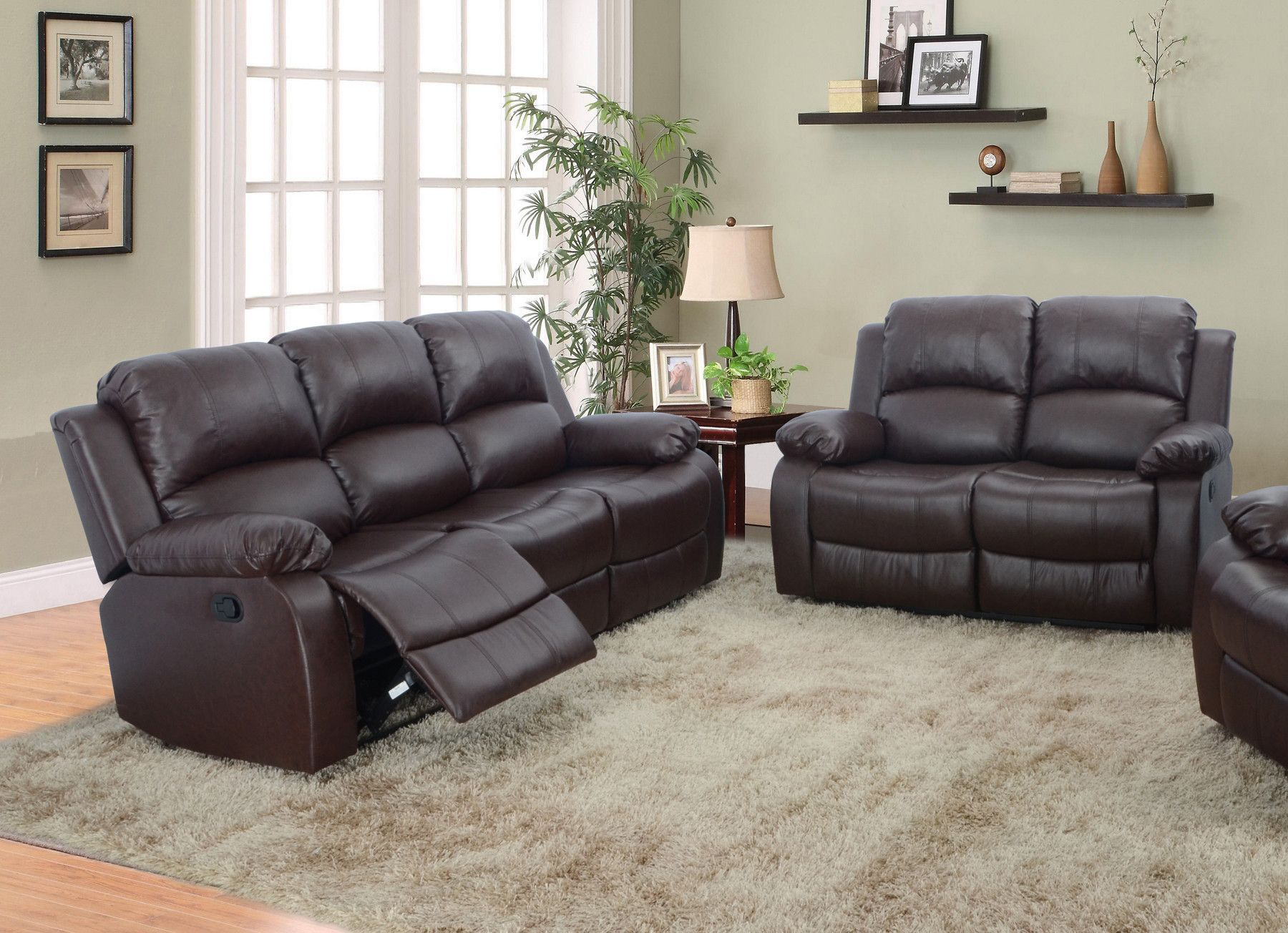 Denver 2 Piece Bonded Leather Reclining Living Room Sofa Set