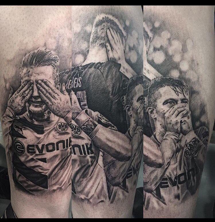 Newest tattoo for my Borussia Dortmund leg sleeve. Marco Reus tattoo