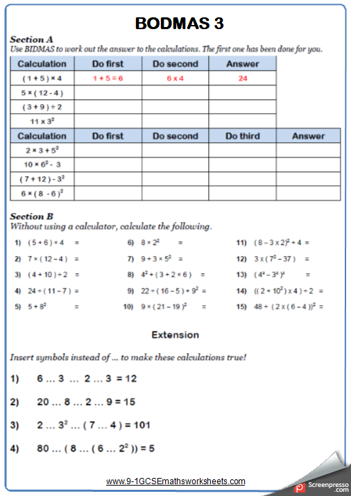 Order Of Operations B Maths Worksheet And Answers Gcse Foundation