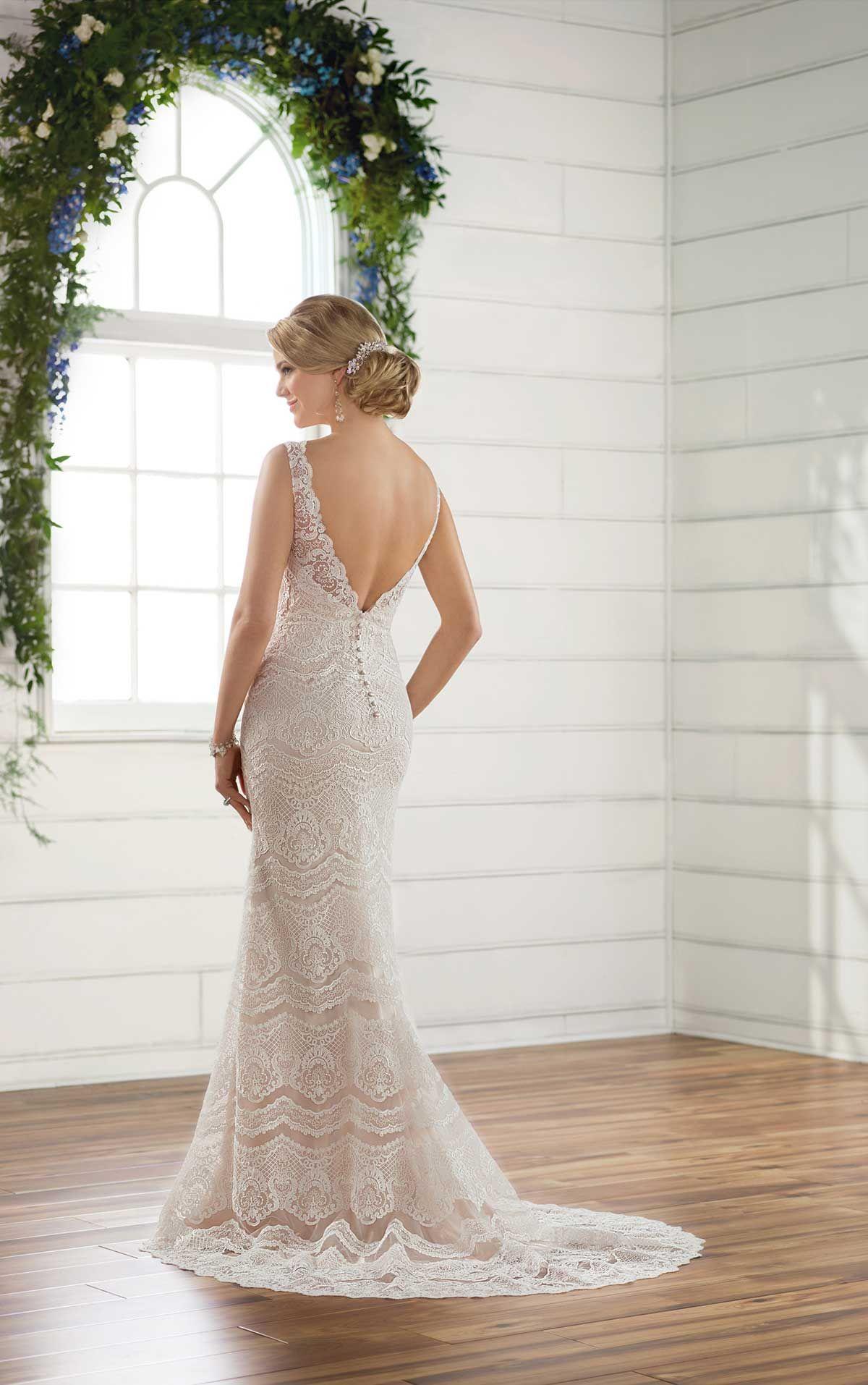 Boho lace patterned wedding dress boho wedding dress and neckline