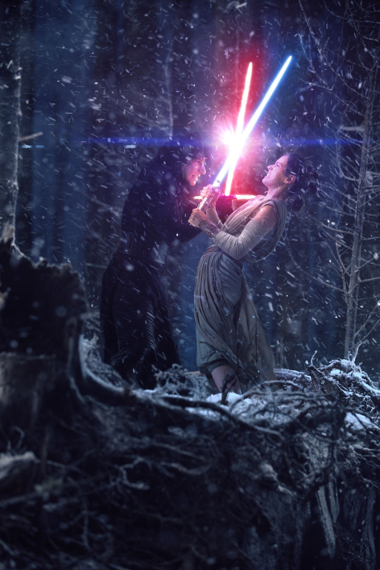 Star Wars: The Force Awakens | Kylo Ren and Rey duel on Starkiller Base
