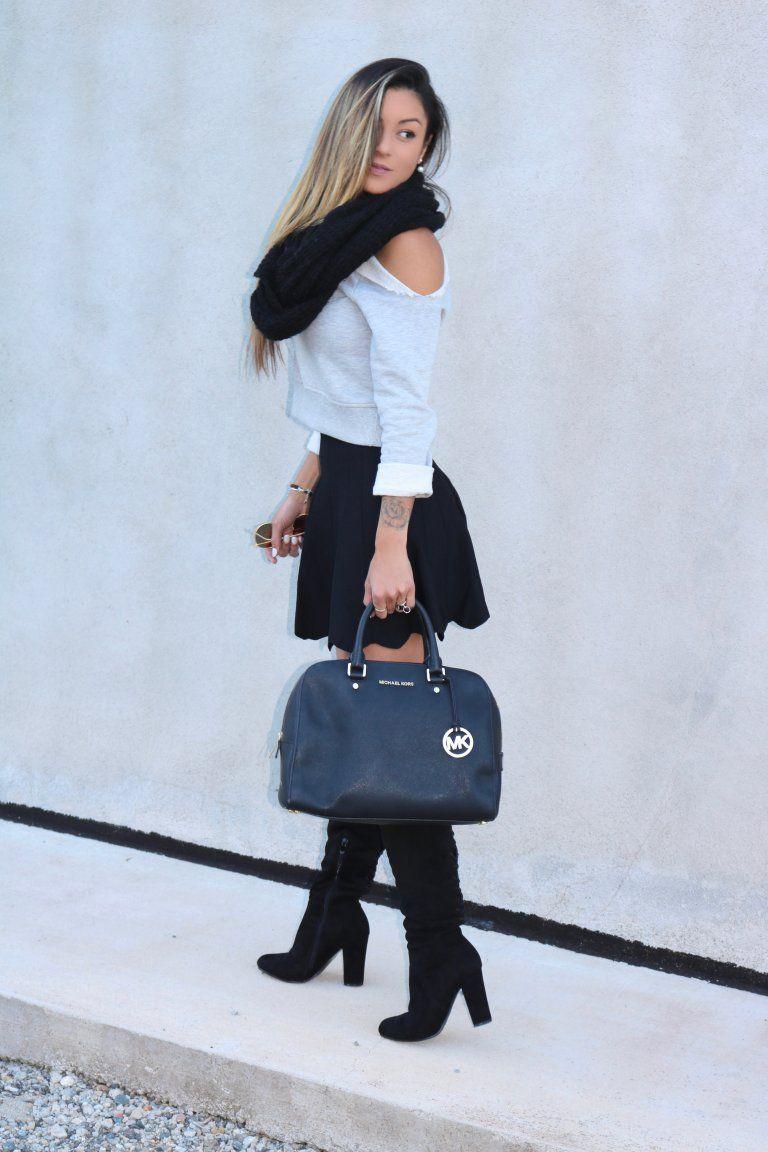 b486276ccc1a03 Porter une mini jupe plissée en hiver | Mode | Jupe plissée, Mini ...