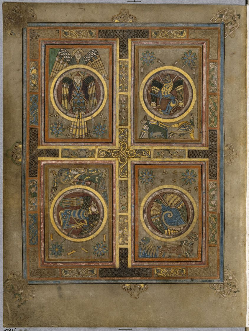 Columban Monks Book Of Kells Circa 800 Ce Folio 129v Symbols Of