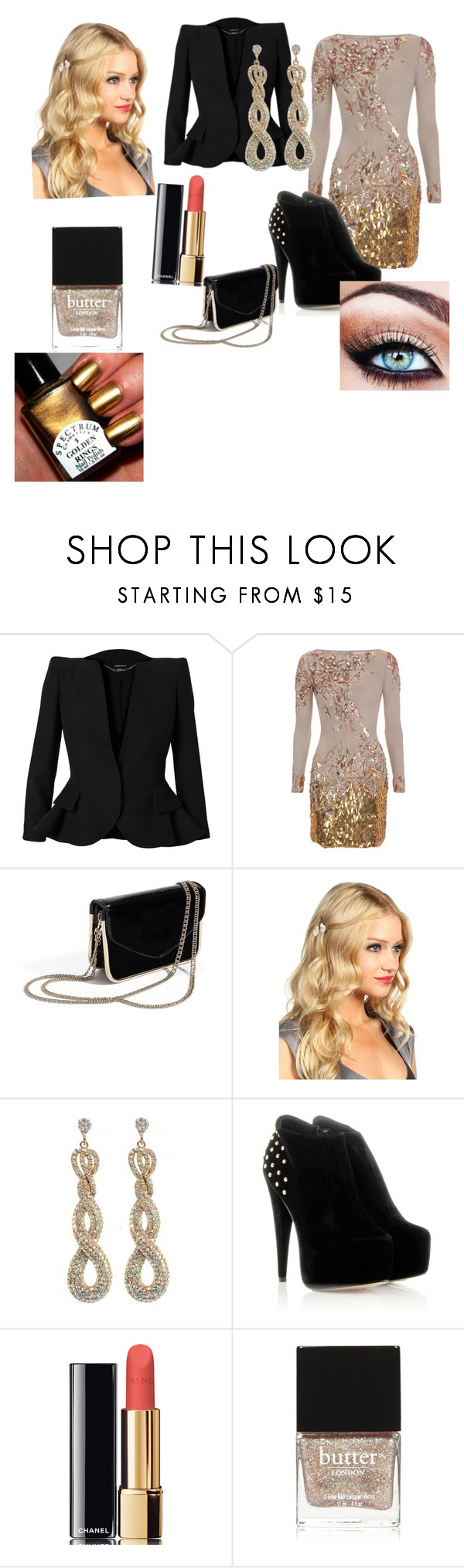 """""""New Year's Eve Party"""" by smallleaf115 ❤ liked on Polyvore featuring Alexander McQueen, Matthew Williamson, GUESS by Marciano, Jane Tran, aB, Chanel and Butter London"""