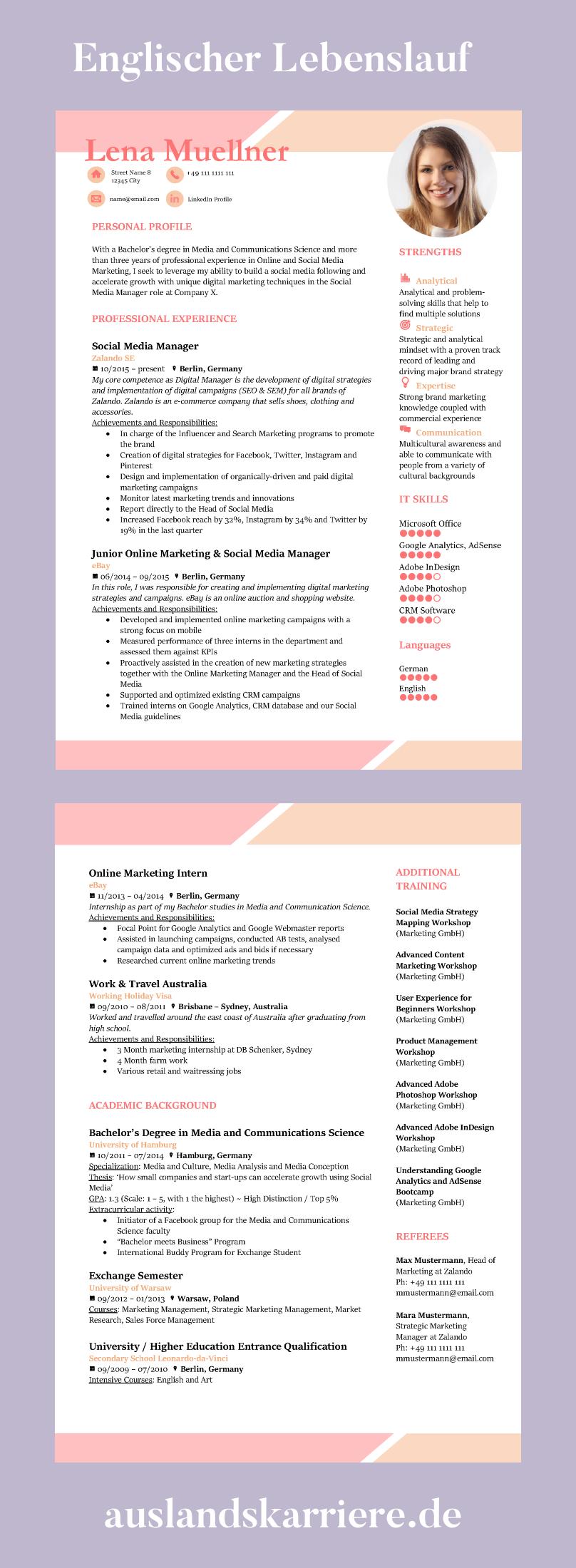 Englischer Lebenslauf Muster Beispiele Und Vorlagen Hierbei