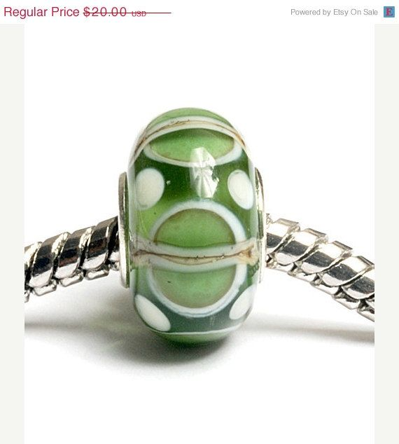 30% OFF Glass Lampwork Beads  - Large Hole Light Green w/Ivory Silver Rondelle Bead  - SC10067. $14.00, via Etsy.