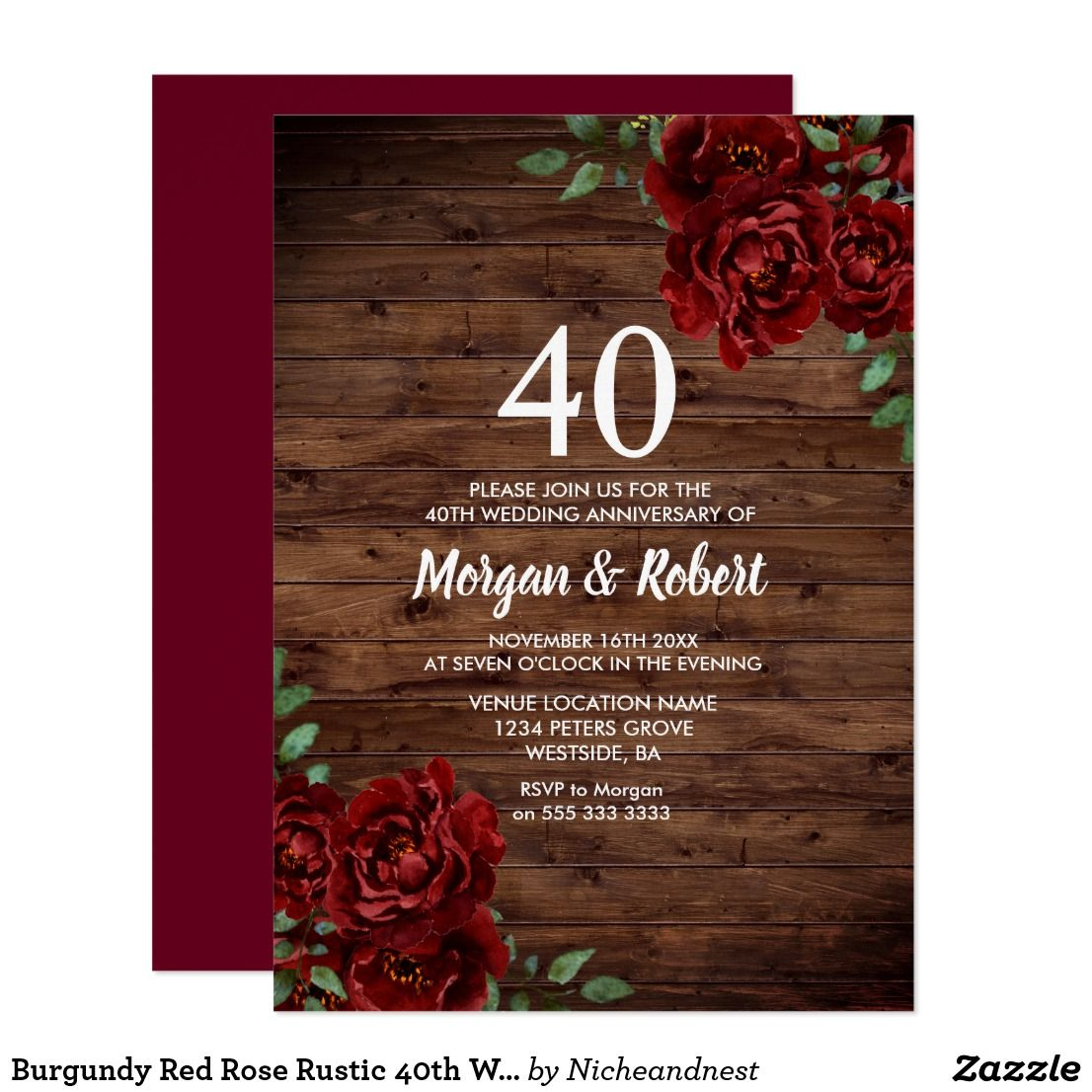 Burgundy Red Rose Rustic 40th Wedding Anniversary Invitation ...