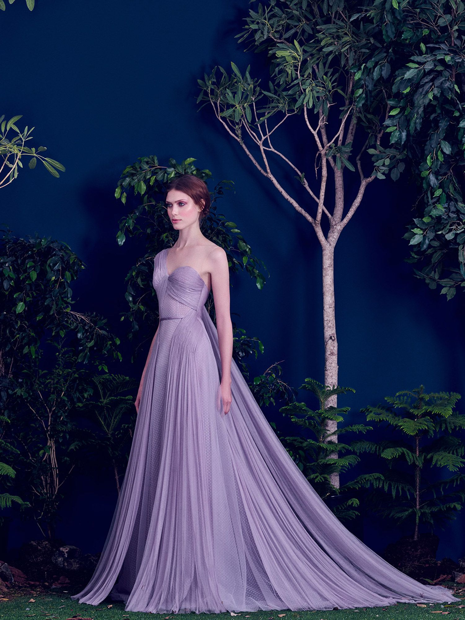 Lavender gown with pleated tulle // Purple wedding dress inspiration ...