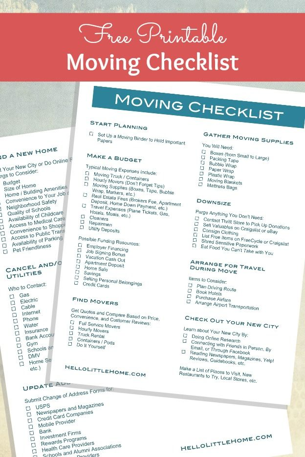How to Plan a Big List + FREE Printable Moving Checklist Misc