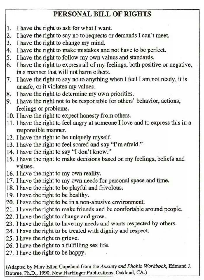 Personal Bill of Rights Psychology and Counseling Pinterest - psychological evaluation