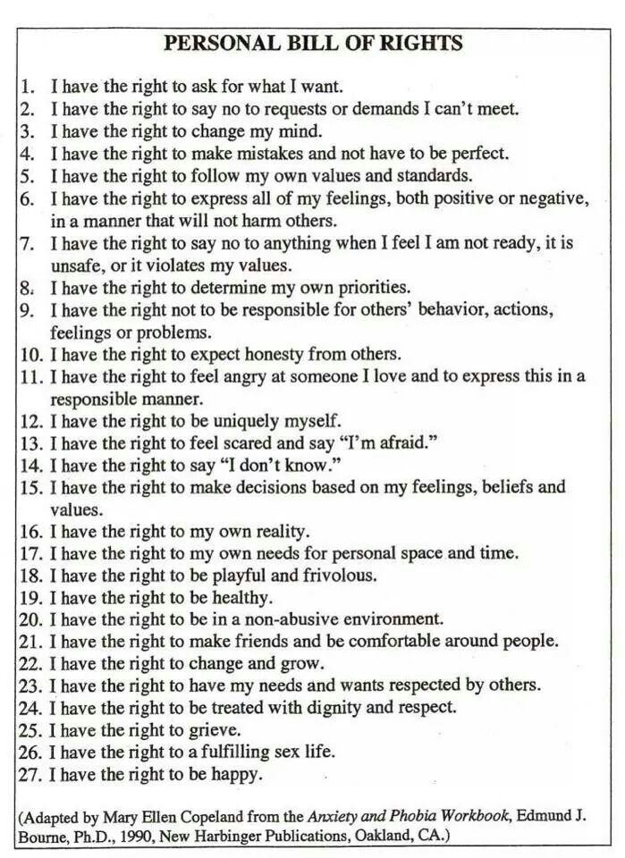 Personal Bill Of Rights Post Traumatic Stress Disorder Personal Bill Of Rights Post Traumatic Stress