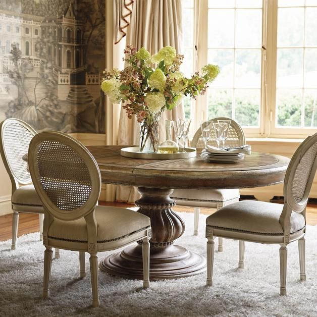 Small Country Table And Chairs: Pedestal Dining Table, Dining Chairs
