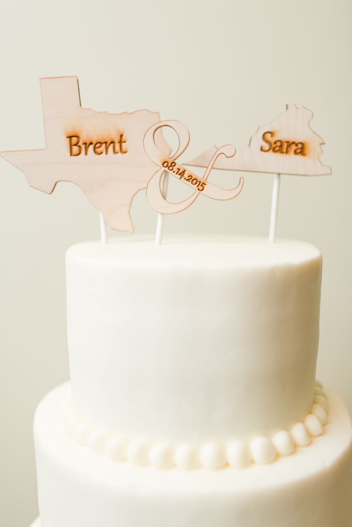 Wood burnt bride & groom states cake topper! DIY Cake Topper Ideas ...