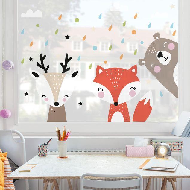 Fensterfolie Fenstersticker Kinderzimmer - Süße Waldtiere