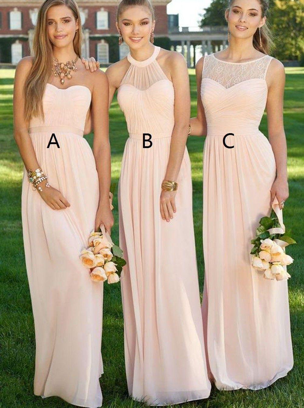 Elegant Lang Ärmellos Chiffon Rosa Brautjungfernkleid mit Rüschen