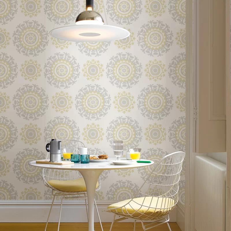 Hatto Grey And Yellow 18 X 20 5 Suzani Peel And Stick Wallpaper Roll Peel And Stick Wallpaper Wallpaper Roll Suzani