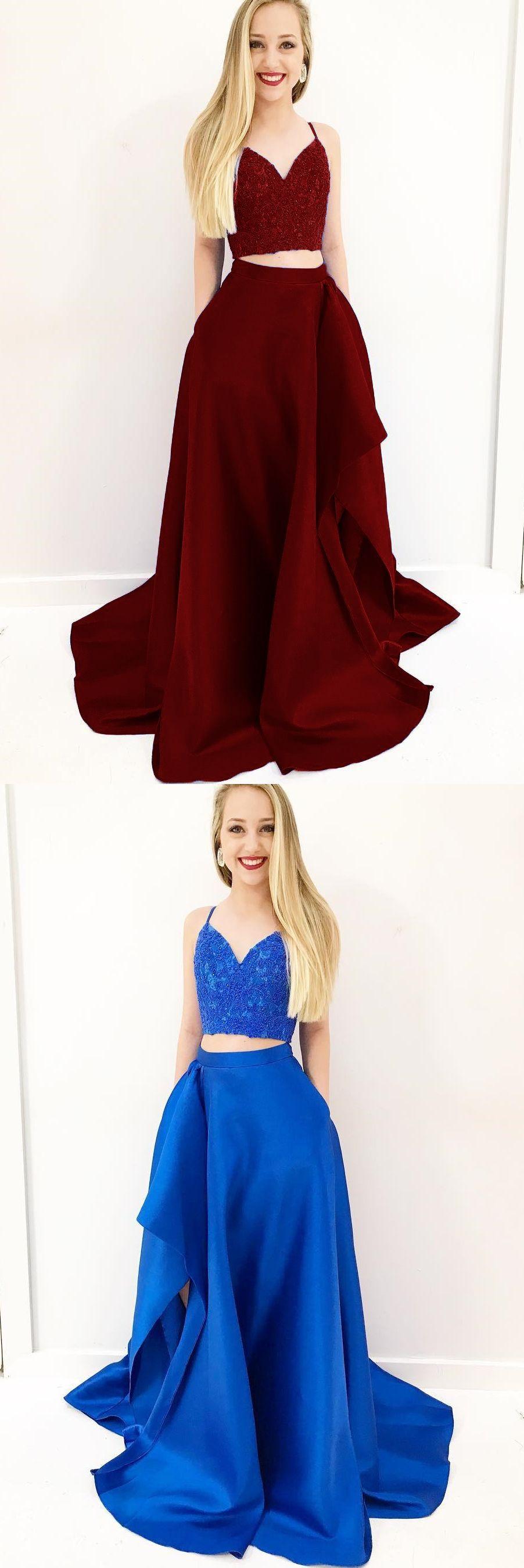 Two piece spaghetti straps royal blue prom dress with pockets split