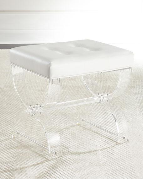 Nels Acrylic Vanity White Faux Leather Seat Vanity Seat Acrylic