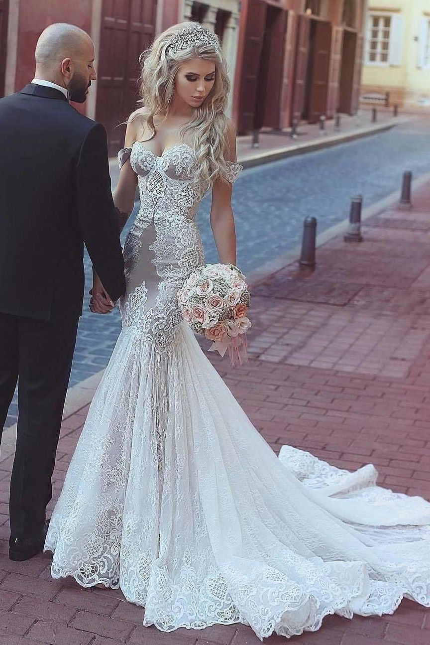 Off The Shoulder Bodycon Wedding Dress With Lace Vestido De Noiva Sereia Vestido De Casamento Perfeito Vestido De Casamento