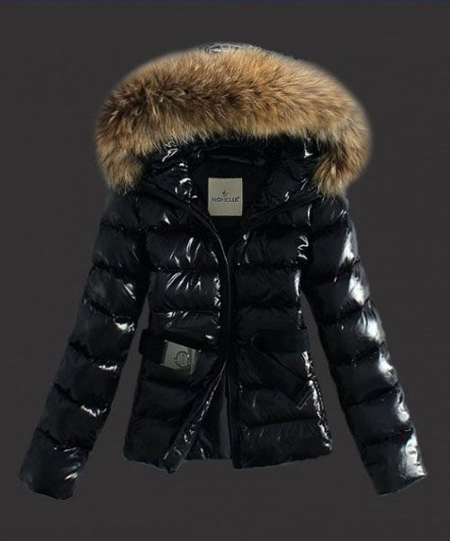 cf25300a2 Moncler Classic Jackets Womens Hooded With Belt Black  2781594 ...