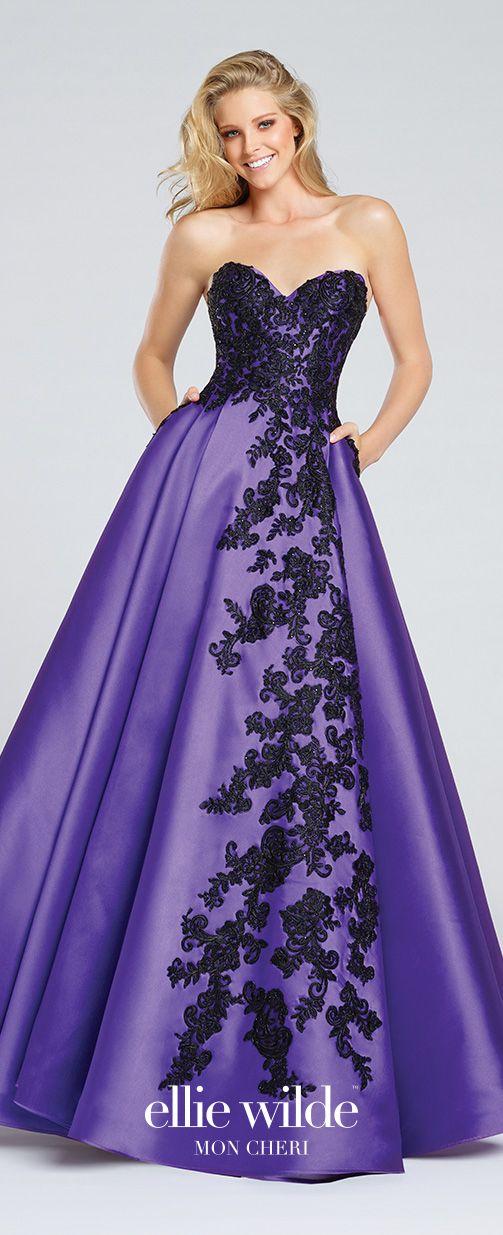 Purple Strapless Mikado A-Line Prom Dress With Pockets - EW117010 ...