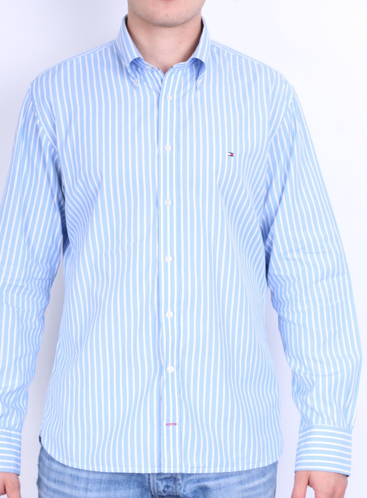 033f58600 Tommy Hilfiger Mens L Casual Shirt Striped Blue 80s Two Ply Cotton ...