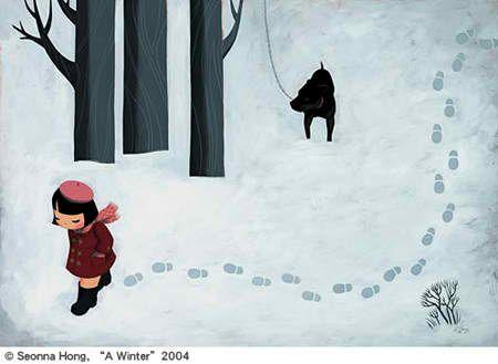 A winter by Seonna Hong (2004) #illustration #dog #winter