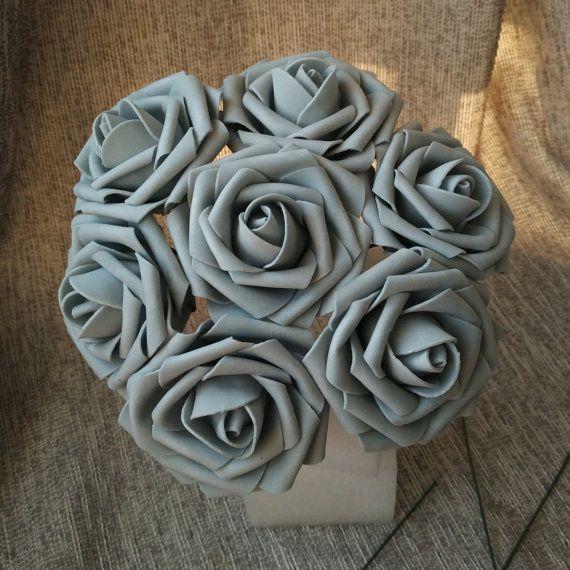 gray flowers fake rose