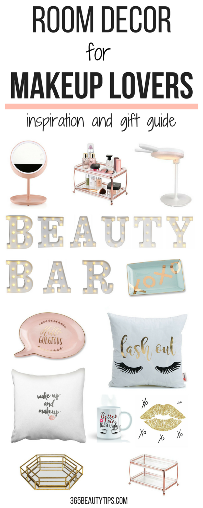 Room decor for makeup lovers - a list of practical, decorative items that any makeup lover would love to own. Use it as a gift guide or glam up your room!