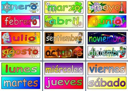 MFL Spanish Resource - Days of the Week and Months of the Year ...