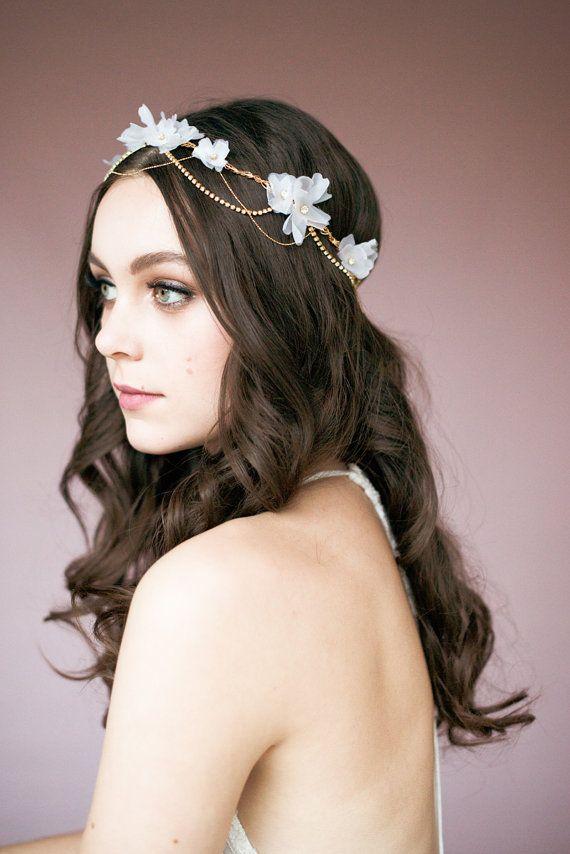 Ivory Silk Flower Gold Bridal Hair Chain, Crystal Crown, White Floral Halo, Bohemian Headpiece, Silver Circlet, Rose Gold Head Chain JOANNA #hairchains