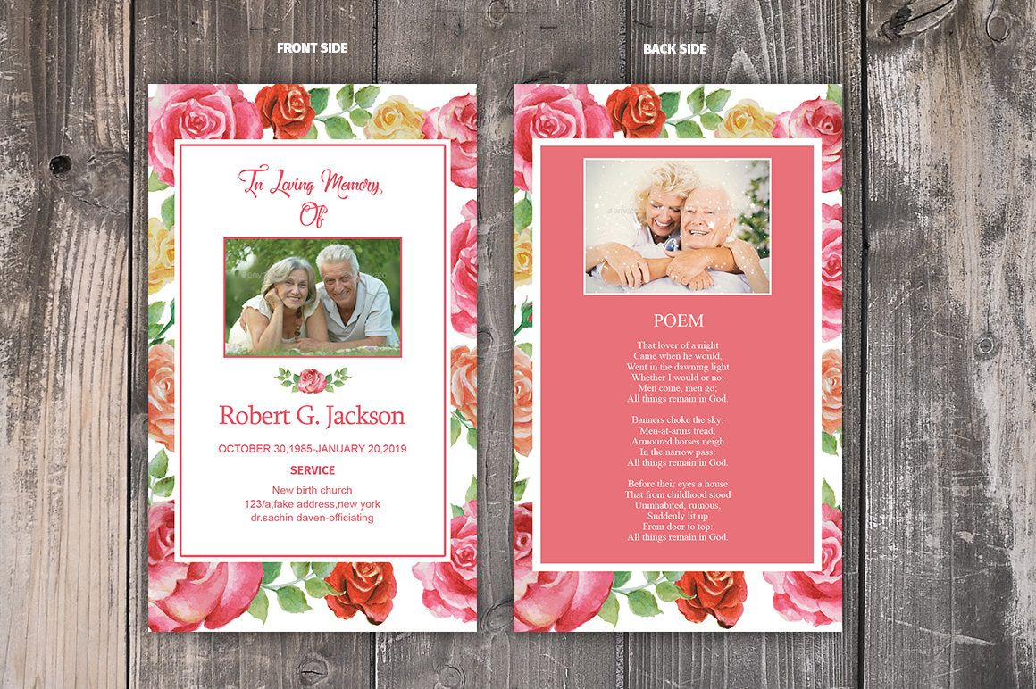 Funeral Prayer Card Template Editable Ms Word Photoshop Template