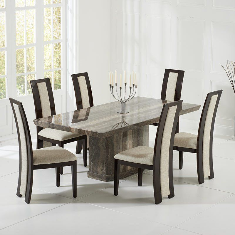 Como Brown Constituted Marble Dining Table Set 6 Rivilino Chairs Amusing Marble Dining Room Design Ideas