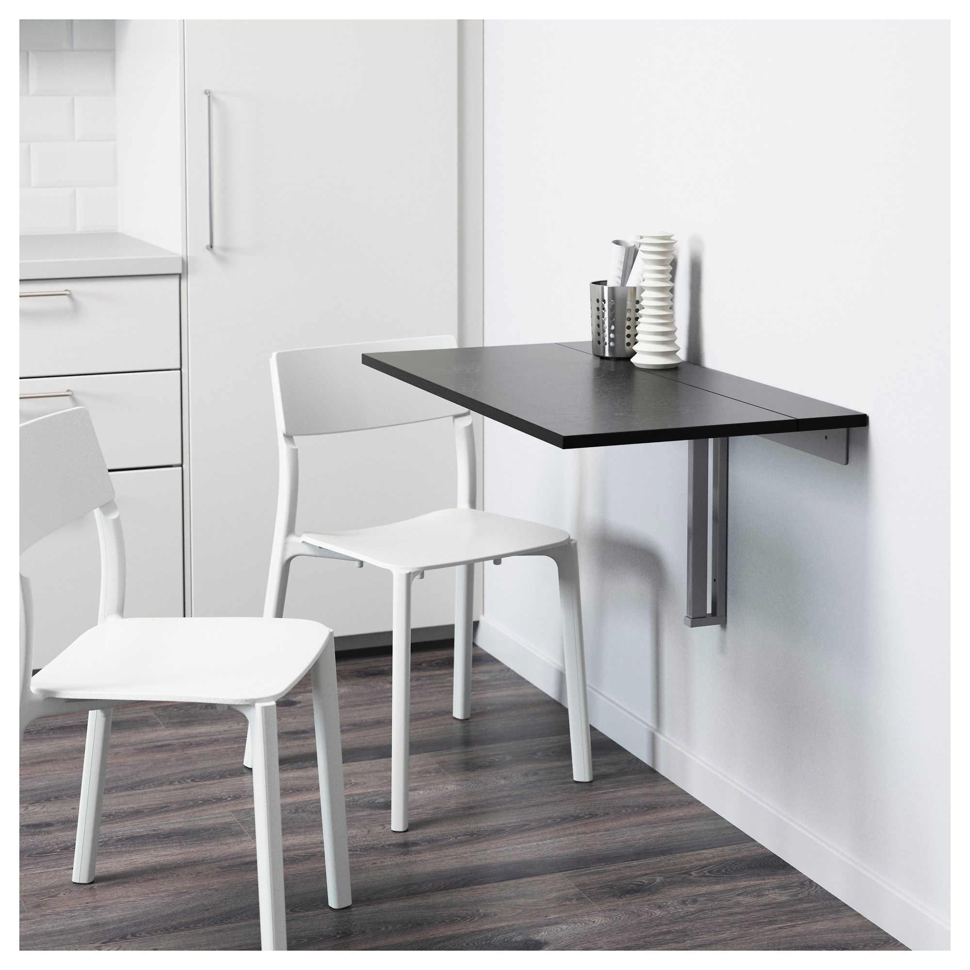 BJURSTA Wall-mounted drop-leaf table Brown-black IKEA | Cocina ...