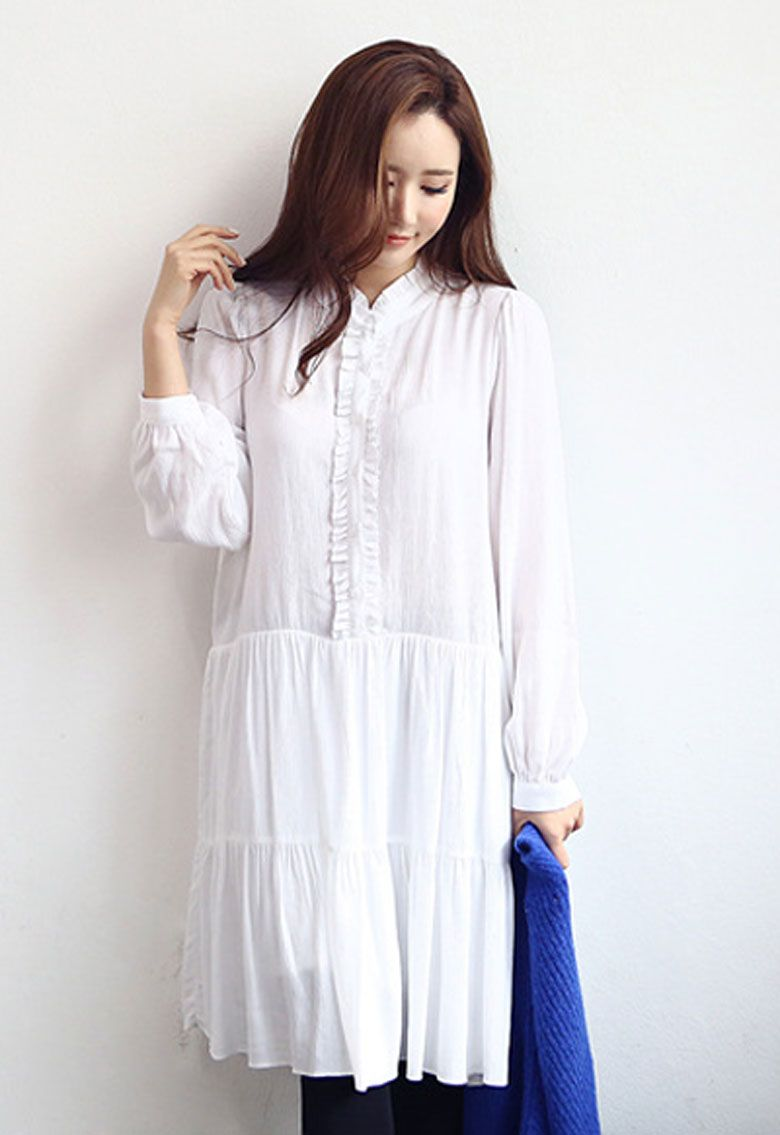 Frill neck long dress uzzlangkorean fashion pinterest korean