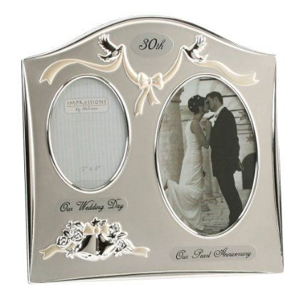 "Amazon.com - Two Tone Silverplated Wedding Anniversary Gift Photo Frame - ""30th Pearl Anniversary"" -"
