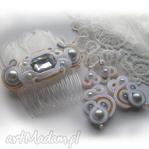 komplet ślubny, komplet, ślub, ślubna, kolczyki, grzebyk biżuteria