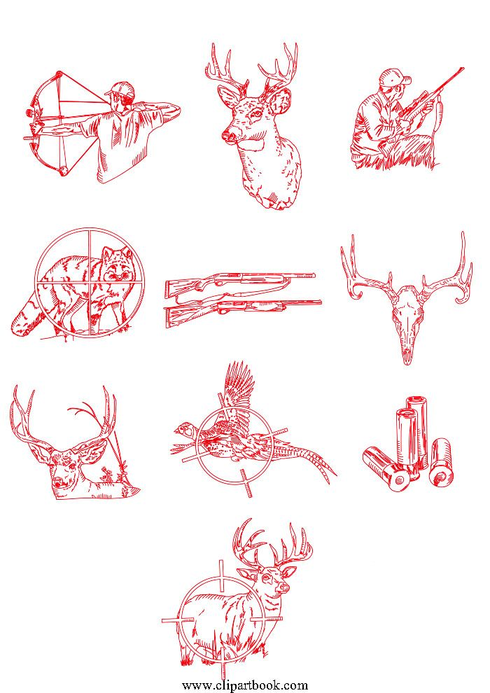 LE - Redwork Hunting lineartfree vector clipart designs for digitizers textile and fashion designers