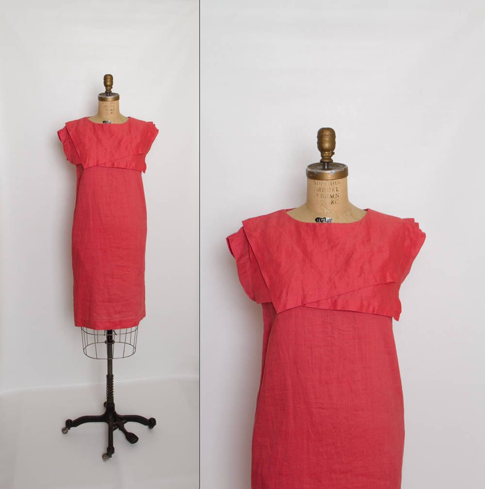 Vintage s coral sack dress with middy collar by cassidy by