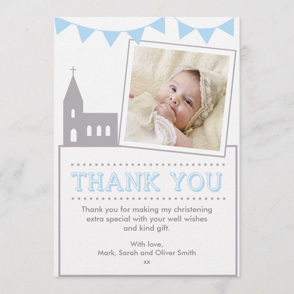 boys christeningbaptism thank you card  zazzle in